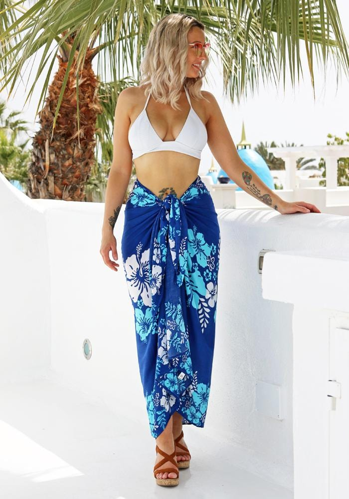 hawaiian blue hibiscus sarong hula beach