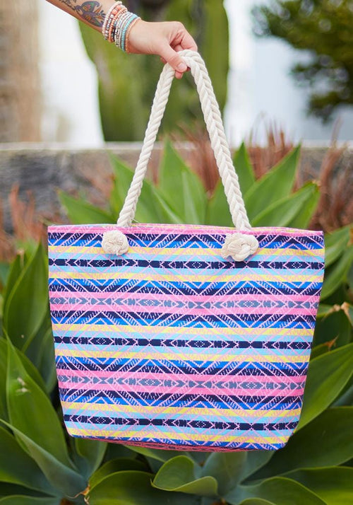 aztec pink purple beach bag
