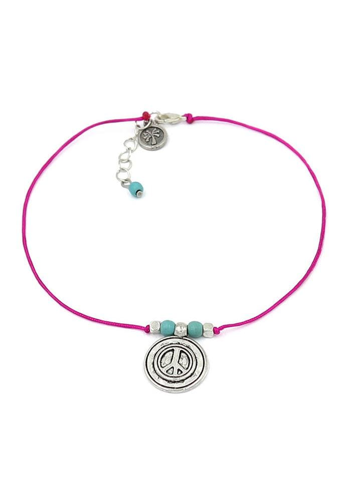 peace charm pink and turquoise anklet hula beach