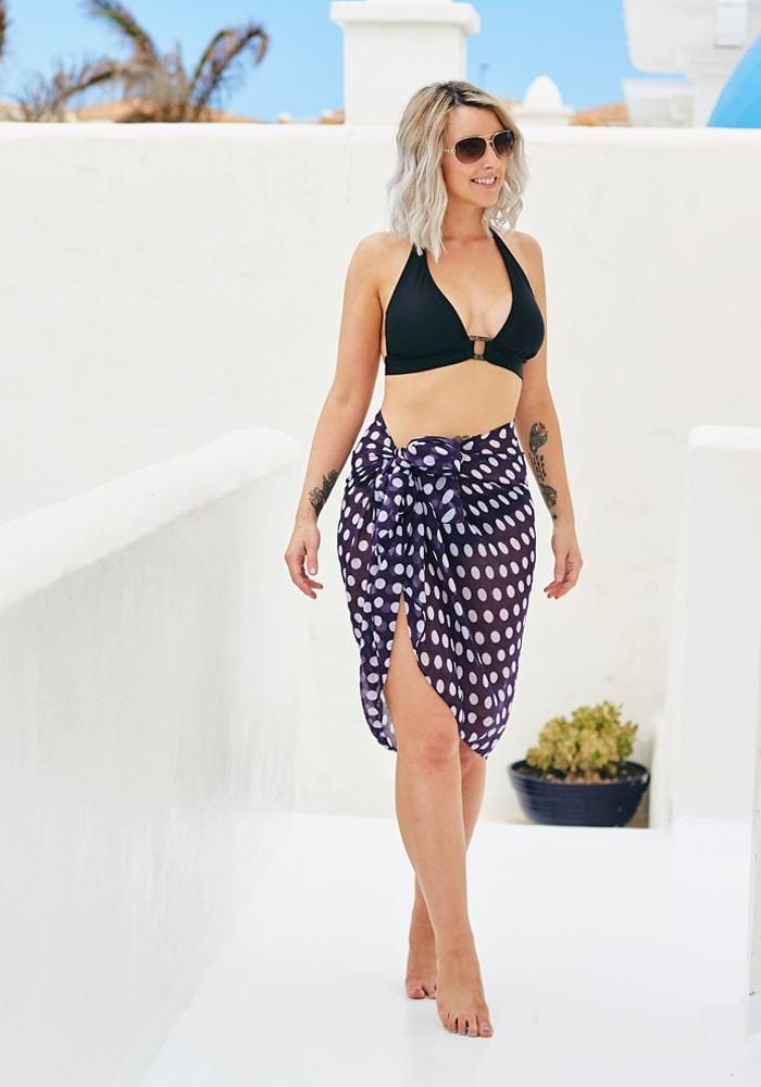 Dark Purple Large Polka Dot Sarong