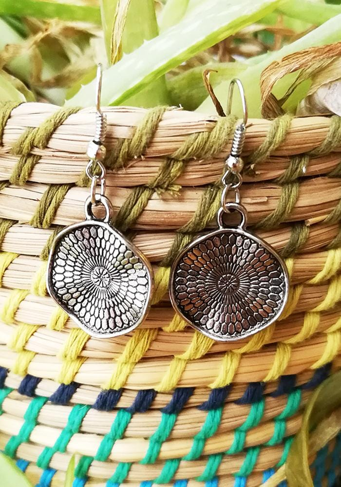 wavy textured disc drop earrings hula beach