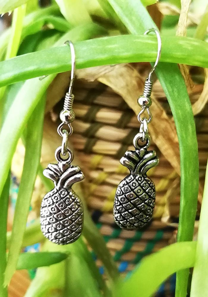 Silver Pineapple Drop Earrings