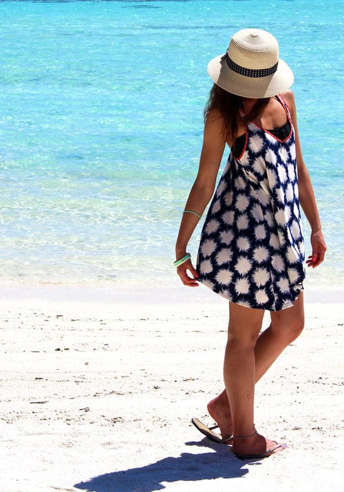 Splash Print Navy Beach Top