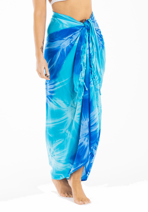 turquoise and royal blue tie dye sarong full length Hula Beach