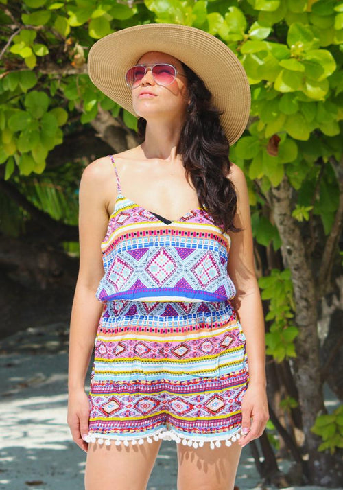Aztec Bobble Trim Playsuit