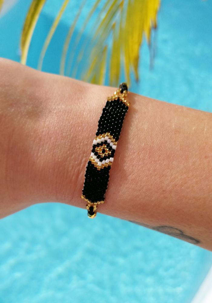 black gold beaded adjustable bracelet hula beach
