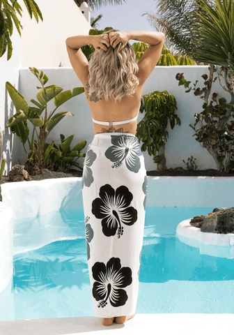 Blue Shell Trim Half Sarong