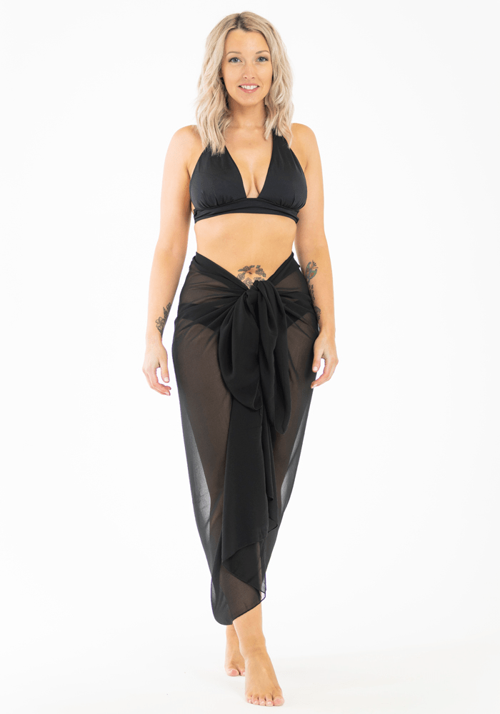 chiffon sheer plain black sarong hula beach full length