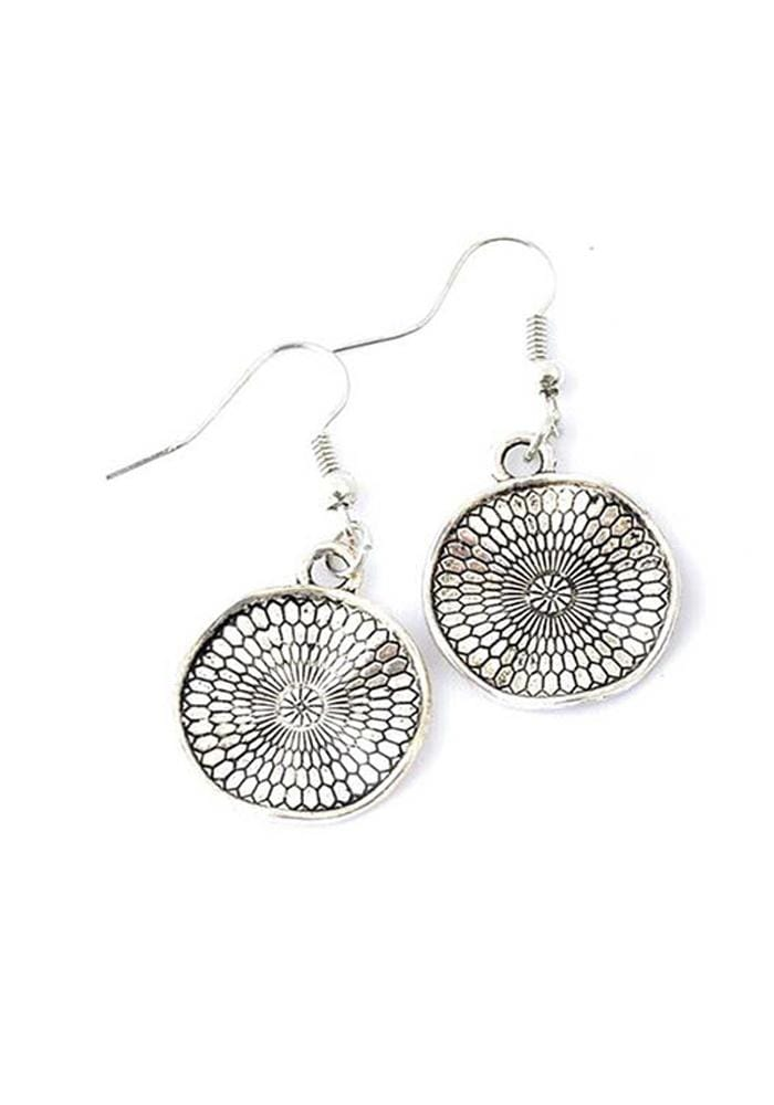 silver disc shaped wavy textured drop earrings