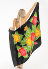 Hand-painted-batik-black-red-yellow-tropical-hawaiian-flower-sarong-hula-beach