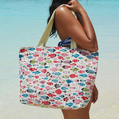 Fish Print Beach Bag