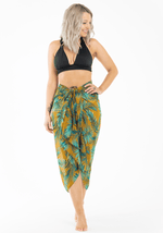 Mustard-yellow-bold-green-palm-print-full-length-beach-sarong-hulabeach