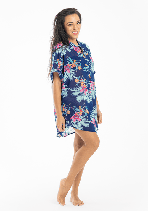 palm print blue tropical shirt Hula Beach