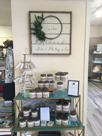 Southampton Candle Company product display at The Peanut Patch Gift Shop In Courtland, Virginia