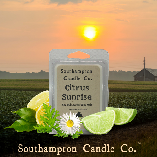 Citrus Sunrise™ Wax Melt is surrounded by fresh limes and lemons, citronella leaves and a white daisy. Amid a backdrop of farmland, while the sun is coming up.