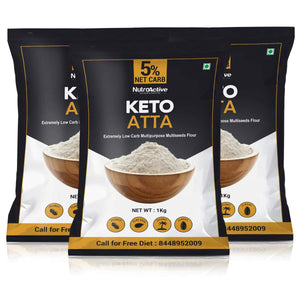 NutroActive Keto Atta (1 gm Net Carb Per Roti) Extremely Low Carb Flour - 1kg (Pack of 3)