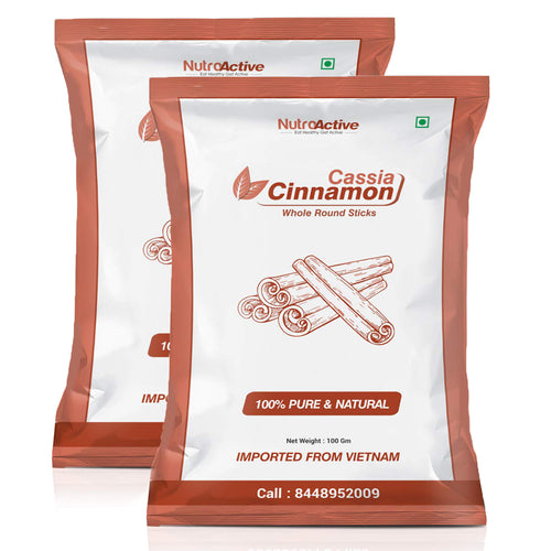 Cinnamon Whole Round Sticks, Dalchini Sticks - 100 gm (Pack of 2)
