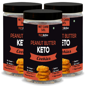 Keto Peanut Butter Cookies - (pack of three)| Zero Sugar | Gluten Free - 250gm