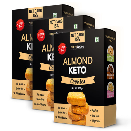 Keto Almond Chewy Cookies - Pack of three | Zero Sugar | Gluten Free - 200gm