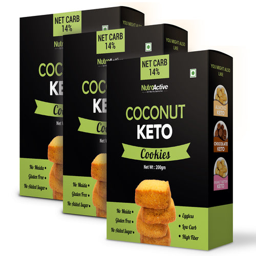 Keto Coconut Chewy Cookies Combo - Pack of 3 | Zero Sugar | Gluten Free | - 200gm