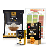Keto Kit for Weight loss(Keto atta-1Kg, Keto Tablets Fat Burner - 30Tab, Keto ALmond Cookies - 200gm, Carbohydrate Counter Chart)