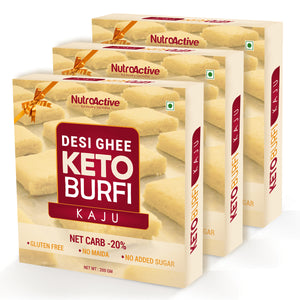 Keto Kaju Barfi (Ultra Low Carb Dessert) Gift Pack (Pack of three) - 200g