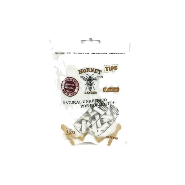 7mm White Hornet Natural Unrefined Pre-Rolled Rolling Tips