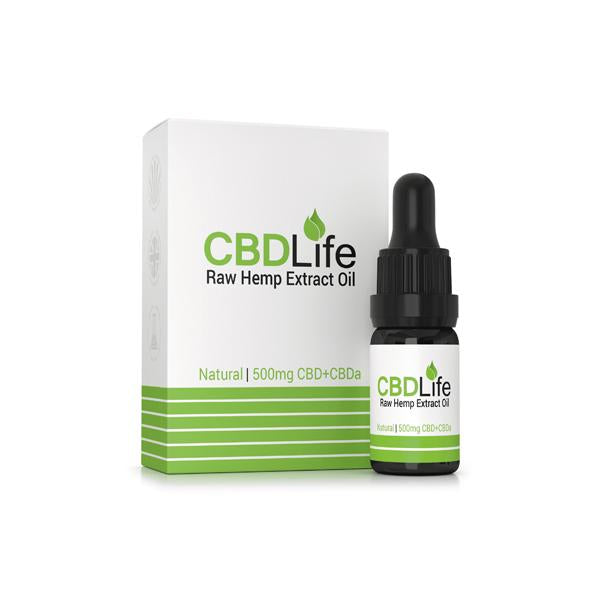 CBDLife 500mg CBD + CBDa Raw Hemp Extract Oil 10ml