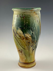 Green and Gold Sculpted Vase