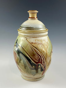 Abstract Decorated Lidded Jar