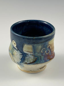 Sculpted Blue Lined Tea Bowl