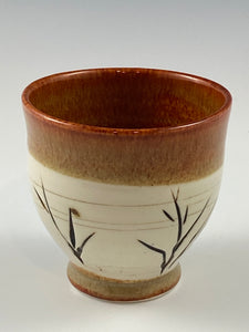 Carved Nutmeg Brown Tea Bowl