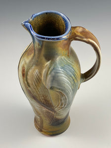 North Carolina Wood Fire Tan and Blue Pitcher