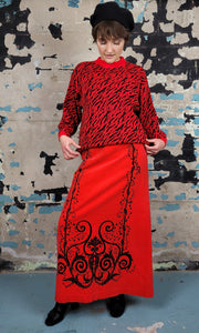 Mr. Dino - Tomato Red Velvet Maxi Skirt - Italian Design