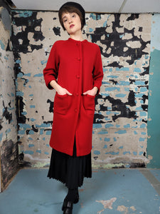 60's Red Wool Sweater Jacket