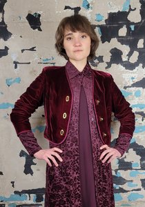 Cropped Burgundy Velvet Glen of Michigan Jacket
