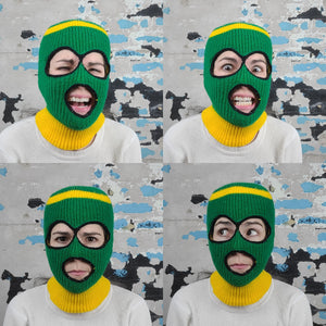 Green and Gold Ski Mask
