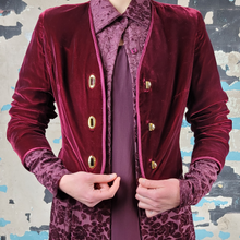 Load image into Gallery viewer, Cropped Burgundy Velvet Glen of Michigan Jacket