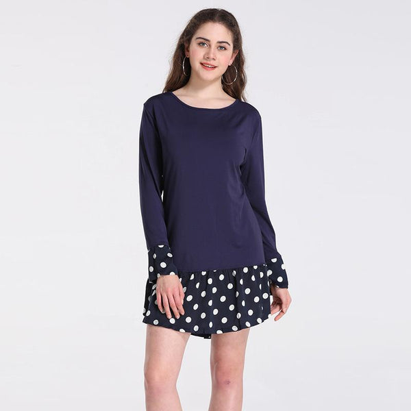 European And American Fashion Spring And Autumn New Black Stitching Polka Dot Dress Skirt Female Short Skirt