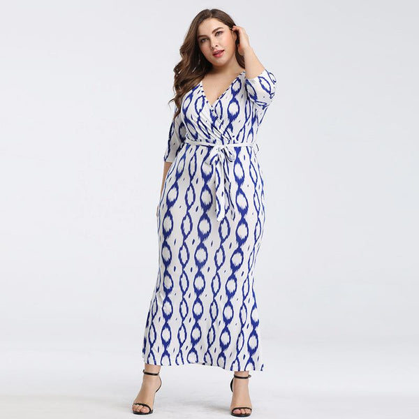 European And American Plus Size Women Wish New Sexy Waist Printing V-neck Loose Dress