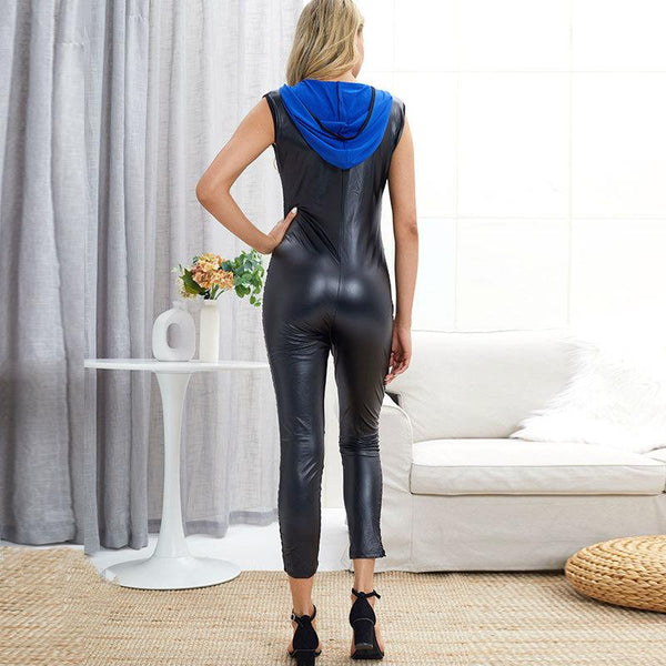 Summer Cross-border Women Clothing The United States New V-neck Hooded Hollow Jumpsuit Leather Pants