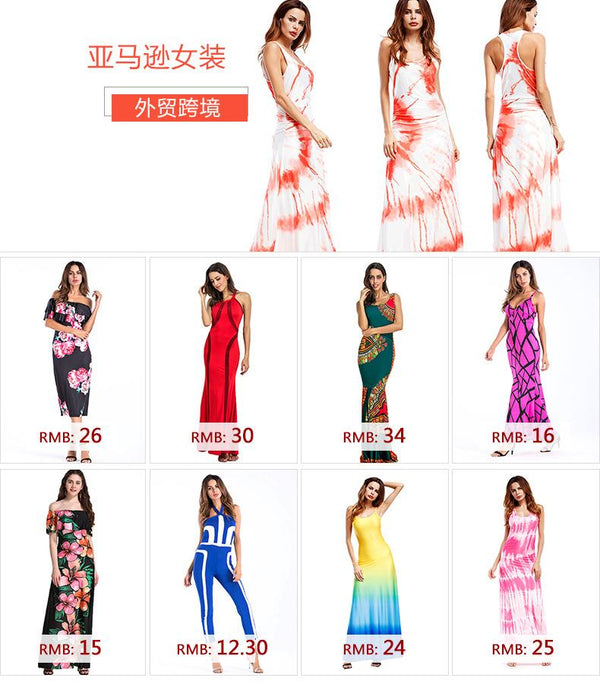 Europe And America Plus Size Women Fat MmV Neck Waist Color Matching Printed Dress