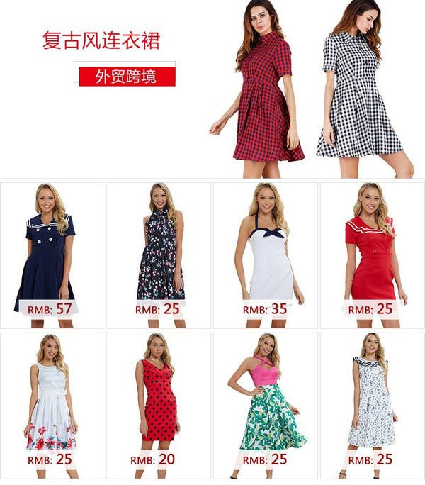European And American Women Summer New Style V-neck Retro Elegant Waist Slim Slimming Straight Dress A-line Skirt