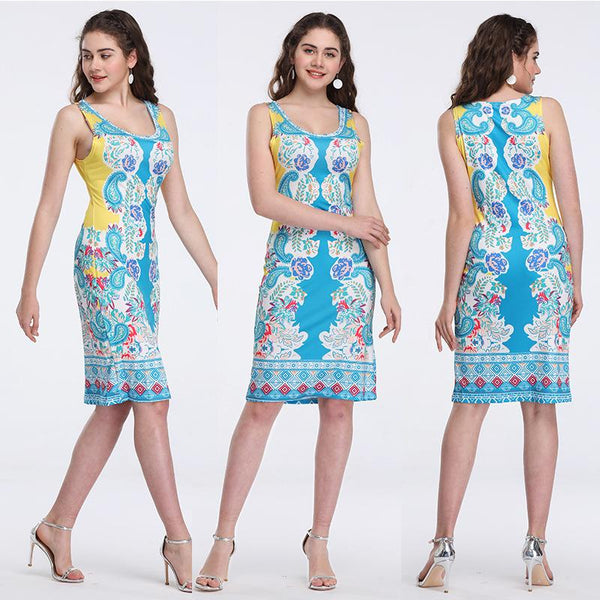 Cross-border Print Retro Dress Slimming Tights Women One-step Skirt Sleeveless Mid Skirt