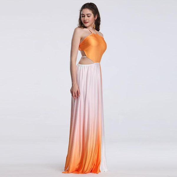 Summer European And American Dress Women Gradient Color Sleeveless Suspender Sexy Long Skirt