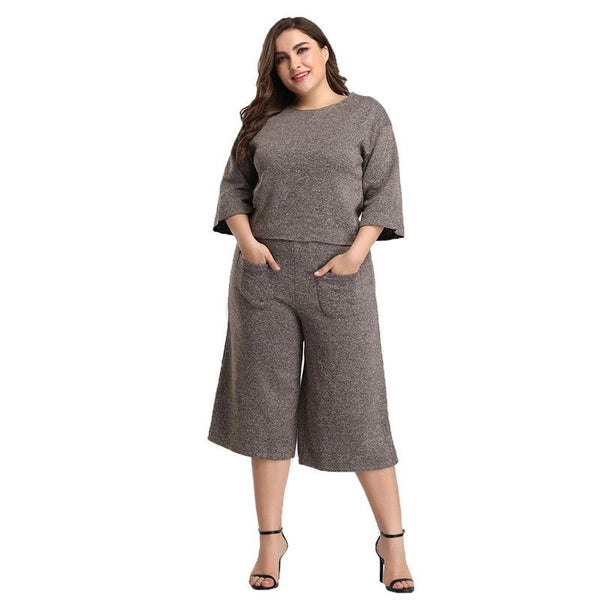 Cross-border European And American Casual Fashion Sports Suit Two-piece Suit Wide Leg Cropped Trousers Women