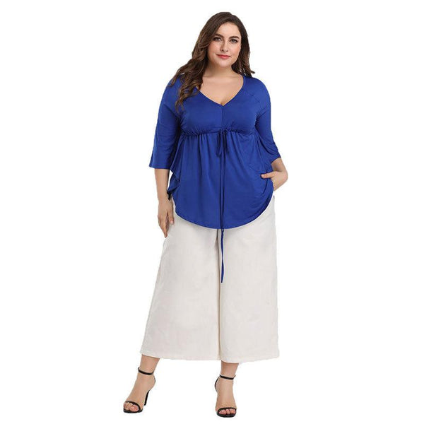 Cross-border Summer Sexy Deep V-neck Plus Size Women Irregular Top T-shirt
