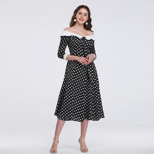 New Product One-shoulder Digital Printing Three-quarter Sleeve Spring And Summer Dress Round Neck Waist Polka Dot Long Skirt