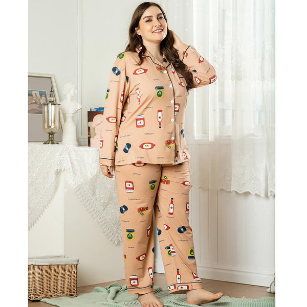 New Ladies Homewear Two-piece Summer Printed Short Sleeve Long Sleeve Pajamas