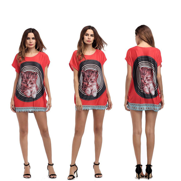 European And American Plus Size Women Summer Pattern Printing Cat Round Neck Short-sleeved Jumpsuit T-shirt Skirt Women